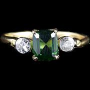Antique Victorian Green Tourmaline Diamond Ring 18ct Gold