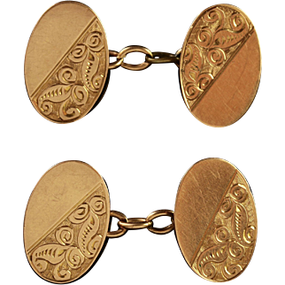 Antique Art Deco Gold Double Cufflinks Birmingham 1922