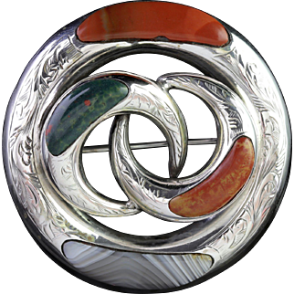 Antique Victorian Silver Scottish Agate Brooch Circa 1860