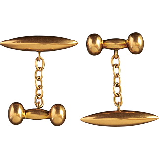 Antique Victorian Gold Bullet Dumbbell Cufflinks Chester Hallmark