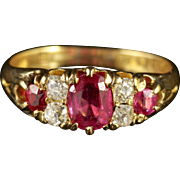 Antique Victorian Ruby Diamond Ring Dated 1885