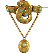 Antique Victorian 15ct Gold Turquoise Locket Brooch Circa 1860