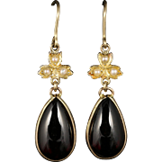 Victorian Garnet and Pearl Long Gold Earrings Circa 1890