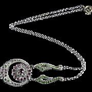 Antique Suffragette Necklace Paste Stones Circa 1900