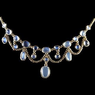 Antique Victorian Gold Moonstone Garland Necklace Circa 1900