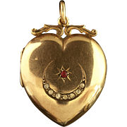 Antique Victorian Gold Heart Locket Star and Crescent Ruby