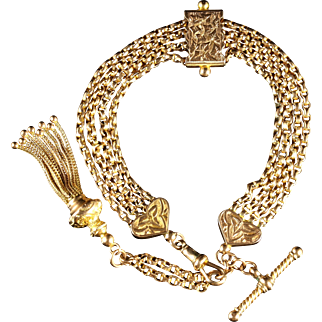 Antique Victorian Gold Albertine Bracelet Circa 1900