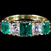 Antique Victorian Emerald Diamond Ring 18ct Gold 2ct Emerald