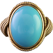 Antique Victorian Large Turquoise Gold Ring Circa 1900