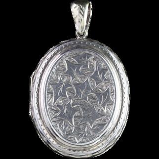 Antique Victorian Silver Ivy Locket Circa 1880