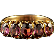 Antique Victorian Five Stone Almandine Garnet Ring 18ct Gold