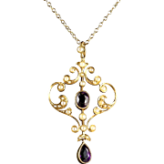 Antique Victorian Amethyst Pendant and Chain 15ct Gold