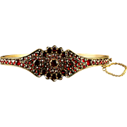 Antique Victorian Bohemian Garnet Bangle Garnet Gold Circa 1900