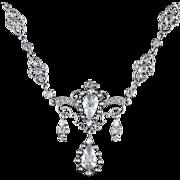 Antique Sterling Silver Victorian Paste Necklace Circa 1900