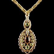 Antique Victorian 9ct Gold Suffragette Garnet Necklace Circa 1900