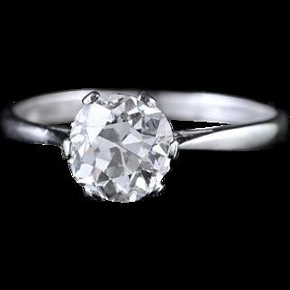 Antique Edwardian 1.45ct Diamond Solitaire Engagement Ring Circa 1910