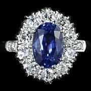 Antique Edwardian Sapphire Diamond Ring Platinum Circa 1910