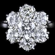 Antique Edwardian Diamond Cluster Engagement Ring 4ct of Diamonds Vs1