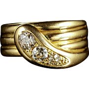 Antique Edwardian 18ct Gold Diamond Serpent Ring Dated 1914