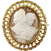 Antique Victorian Night and Day Cameo Brooch Circa 1880