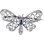 Antique Victorian Silver Butterfly Paste Brooch Circa 1900