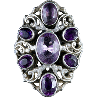 Antique Victorian Large Amethyst Silver Ring Circa 1900