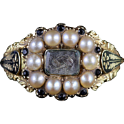 Antique Georgian 18ct Gold Pearl Sapphire Mourning Ring Circa 1780
