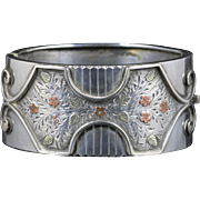 Antique Victorian Silver Gold Bangle Forget Me Not Circa 1880