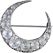 Antique Victorian Silver Crescent Moon Paste Brooch Circa 1860
