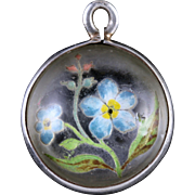 Antique Victorian Rock Crystal Forget Me Not Pendant Circa 1900