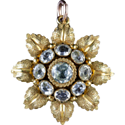 Antique Georgian 18ct Gold Aquamarine Pendant Circa 1800
