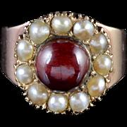 Antique Georgian Garnet Pearl Ring 18ct Gold Circa 1800