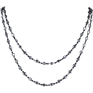 Antique Victorian Silver Chain Necklace Crystal Circa 1900