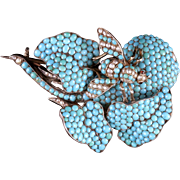 Antique Georgian Turquoise Pearl Bee Brooch Circa 1830