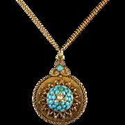 Antique Victorian Gold Turquoise Locket Pendant Necklace Circa 1880
