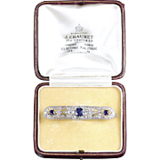 Edwardian French Sapphire Diamond Brooch Platinum J.chaumet