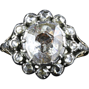 Georgian 3.10 Rose Cut Diamond 18ct Gold Solitaire Cluster Ring