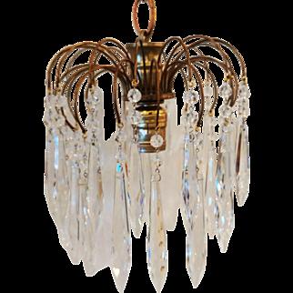 Mid-Century Brass Chandelier with U-Drop Crystal