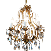 1920's French Bronze Chandelier with Gold Leaf Finish