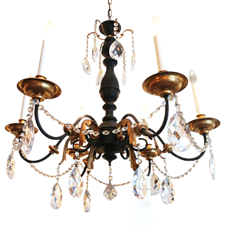 1940's Iron and Wood Chandelier