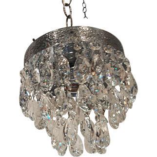 1950's Italian Silver Plated Chandelier with Swedish Cut Crystal