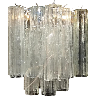 1950's Venini Chandelier with Hand Blown Tronchi Crystal