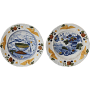 Pair of Antique Pearlware Children's Plates with Eagle Decoration