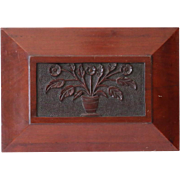 Antique Carved Architectural Panel of Naive or Folk Basket of Flowers - Red Tag Sale Item