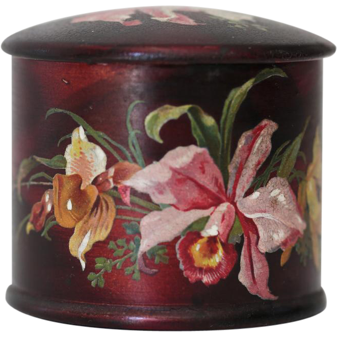 antique papier mache painted dresser jar container with columbine from englandscountrytreasures. Black Bedroom Furniture Sets. Home Design Ideas