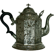 Unusual Tole and Pewter Octagonal Teapot