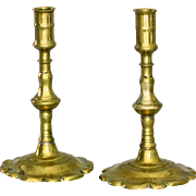 Pair of 18thC Brass Queen Anne Petal Base Candle Sticks