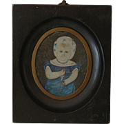 Antique Naive Folk Miniature Portrait of Child
