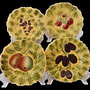 Set of 4 French Majolica Sarreguemines Fruit Dessert Plates