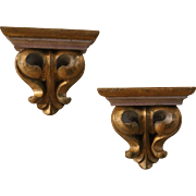 Antique Pair of French Gilded Carved Wall Shelves - Red Tag Sale Item
